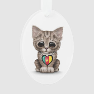 Cute Kitten Cat with Cameroon Flag Heart, white