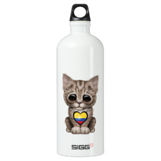 Cute Kitten Cat with Colombian Flag Heart Water Bottle