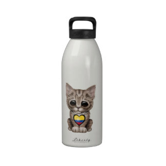 Cute Kitten Cat with Colombian Flag Heart Reusable Water Bottle