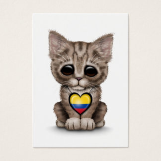 Cute Kitten Cat with Colombian Flag Heart, white Business Card