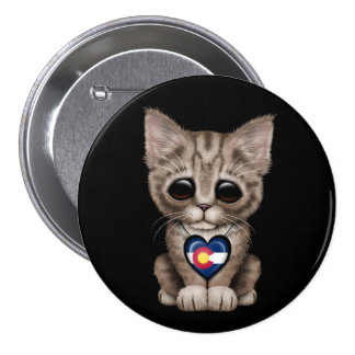 Cute Kitten Cat with Colorado Flag Heart, black Pin