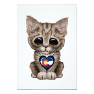 Cute Kitten Cat with Colorado Flag Heart Card