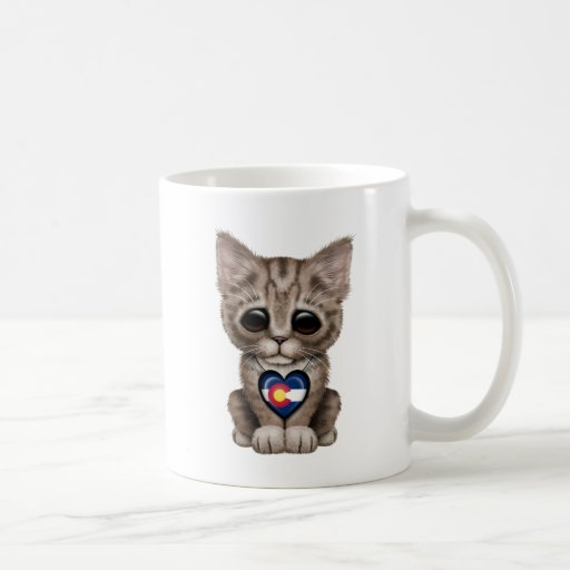 Cute Kitten Cat with Colorado Flag Heart Mug