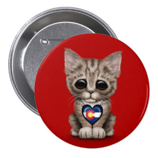 Cute Kitten Cat with Colorado Flag Heart, red Button