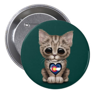 Cute Kitten Cat with Colorado Flag Heart, teal Button