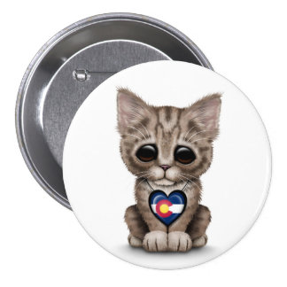 Cute Kitten Cat with Colorado Flag Heart, white Pinback Buttons