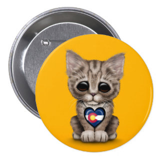 Cute Kitten Cat with Colorado Flag Heart, yellow Pinback Buttons