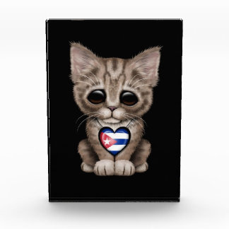 Cute Kitten Cat with Cuban Flag Heart black Acrylic Award