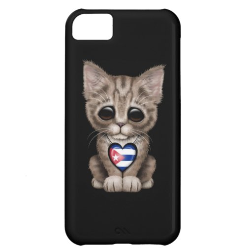 Cute Kitten Cat with Cuban Flag Heart, black iPhone 5C Case
