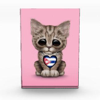 Cute Kitten Cat with Cuban Flag Heart pink Acrylic Award