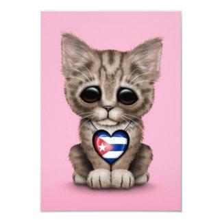 Cute Kitten Cat with Cuban Flag Heart, pink Custom Announcements
