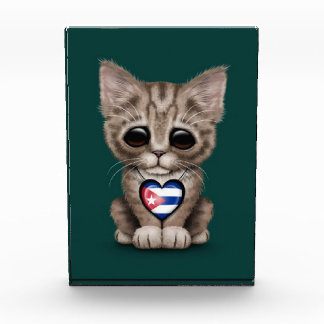 Cute Kitten Cat with Cuban Flag Heart teal Awards