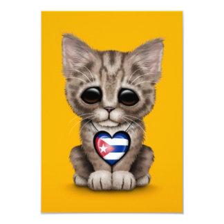 Cute Kitten Cat with Cuban Flag Heart, yellow Custom Invitations