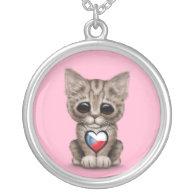 Cute Kitten Cat with Czech Republic Heart, pink Custom Jewelry