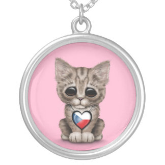 Cute Kitten Cat with Czech Republic Heart, pink Round Pendant Necklace