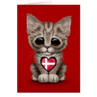 Cute Kitten Cat with Danish Flag Heart, red Greeting Card