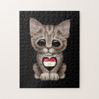 Cute Kitten Cat with Egyptian Flag Heart, black Jigsaw Puzzle