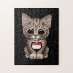 Cute Kitten Cat with Egyptian Flag Heart, black Puzzles