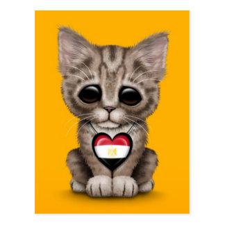Cute Kitten Cat with Egyptian Flag Heart, yellow Postcard