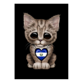 Cute Kitten Cat with El Salvador Heart, black Large Business Card
