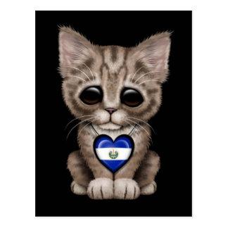 Cute Kitten Cat with El Salvador Heart, black Postcard