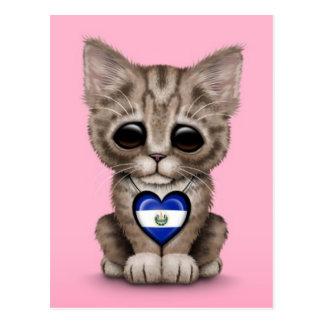 Cute Kitten Cat with El Salvador Heart, pink Postcard