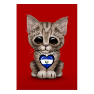 Cute Kitten Cat with El Salvador Heart, red Large Business Card