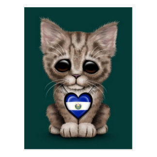 Cute Kitten Cat with El Salvador Heart, teal Postcard