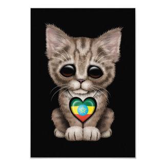 Cute Kitten Cat with Ethiopian Flag Heart, black Card