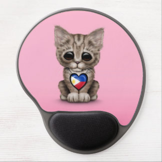 Cute Kitten Cat with Filipino Flag Heart, pink Gel Mouse Pad