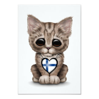 Cute Kitten Cat with Finnish Flag Heart, white Card