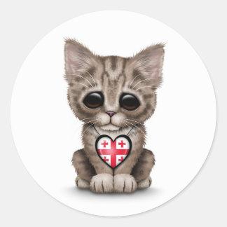 Cute Kitten Cat with Georgian Flag Heart, white Classic Round Sticker