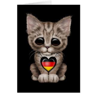 Cute Kitten Cat with German Flag Heart, black Card