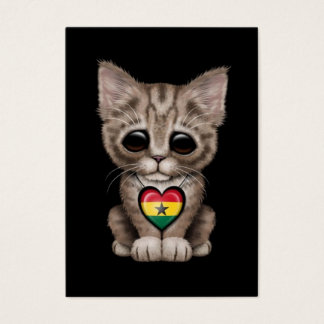 Cute Kitten Cat with Ghana Flag Heart, black Business Card