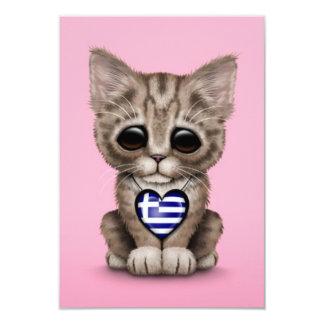 Cute Kitten Cat with Greek Flag Heart, pink Invitation