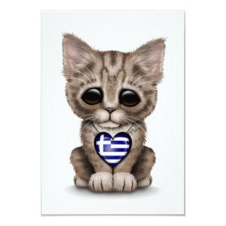 Cute Kitten Cat with Greek Flag Heart, white Announcements