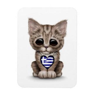 Cute Kitten Cat with Greek Flag Heart, white Magnet