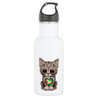 Cute Kitten Cat with Guyana Flag Heart Water Bottle