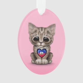 Cute Kitten Cat with Haitian Flag Heart, pink