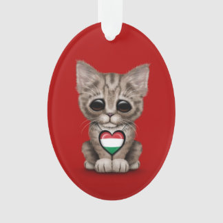 Cute Kitten Cat with Hungarian Flag Heart, red