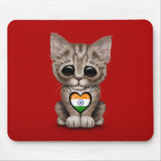 Cute Kitten Cat with Indian Flag Heart, red Mouse Pad