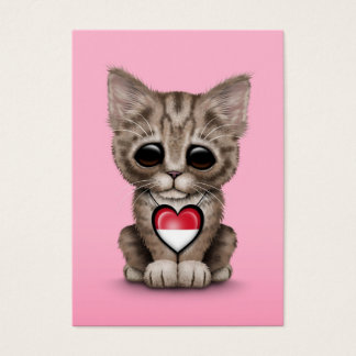 Cute Kitten Cat with Indonesian Flag Heart, pink Business Card