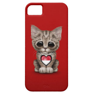 Cute Kitten Cat with Indonesian Flag Heart, red iPhone SE/5/5s Case