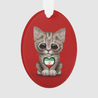 Cute Kitten Cat with Iranian Flag Heart, red Ornament