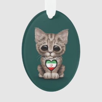Cute Kitten Cat with Iranian Flag Heart, teal Ornament