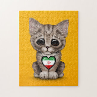 Cute Kitten Cat with Iranian Flag Heart, yellow Jigsaw Puzzles