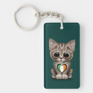 Cute Kitten Cat with Irish Flag Heart, teal Double-Sided Rectangular Acrylic Keychain