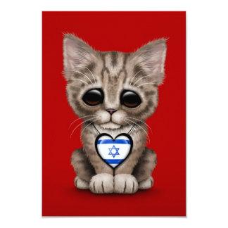 "Cute Kitten Cat with Israeli Flag Heart, red 3.5"" X 5"" Invitation Card"
