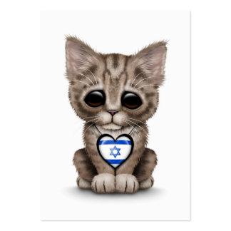 Cute Kitten Cat with Israeli Flag Heart, white Large Business Card