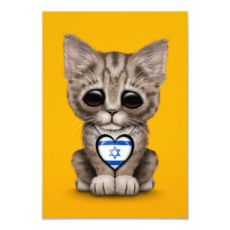 "Cute Kitten Cat with Israeli Flag Heart, yellow 3.5"" X 5"" Invitation Card"